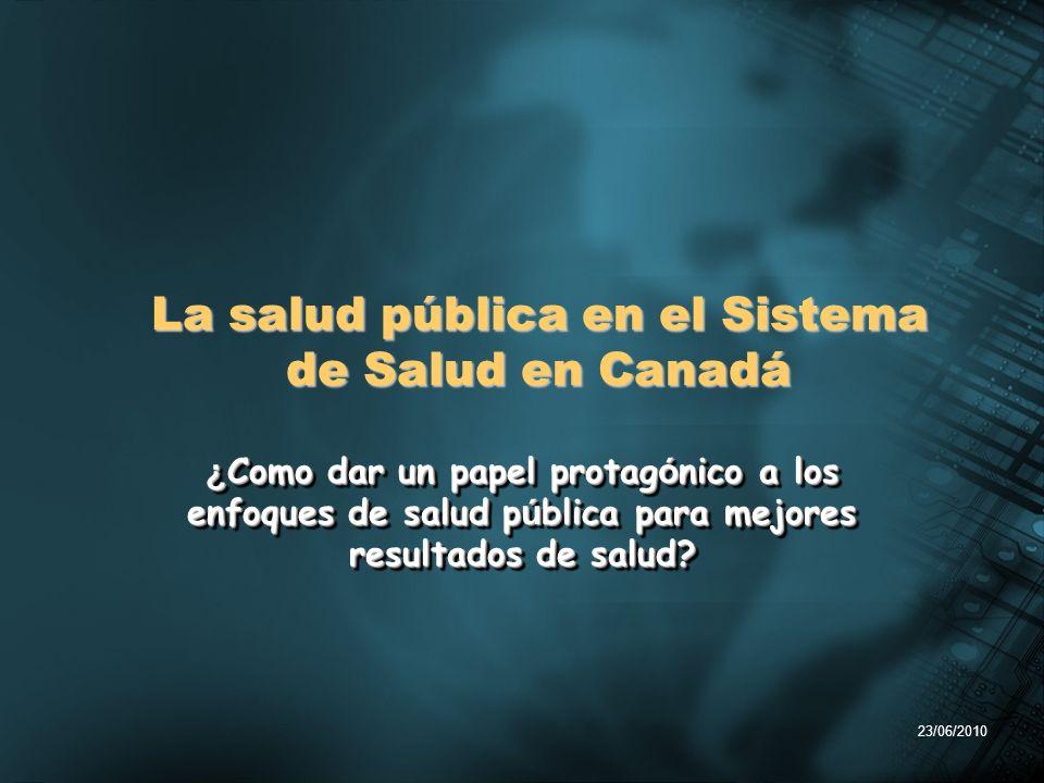 23/06/2010 ¿ Como dar un papel protag ó nico a los enfoques de salud p ú blica para mejores resultados de salud? La salud pública en el Sistema de Sal