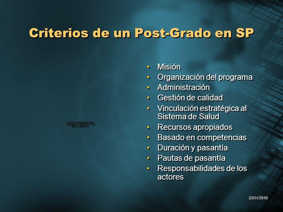 23/06/2010 30 Criterios de un Post-Grado en SP Misi ó n Organizaci ó n del programa Administraci ó n Gesti ó n de calidad Vinculaci ó n estrat é gica