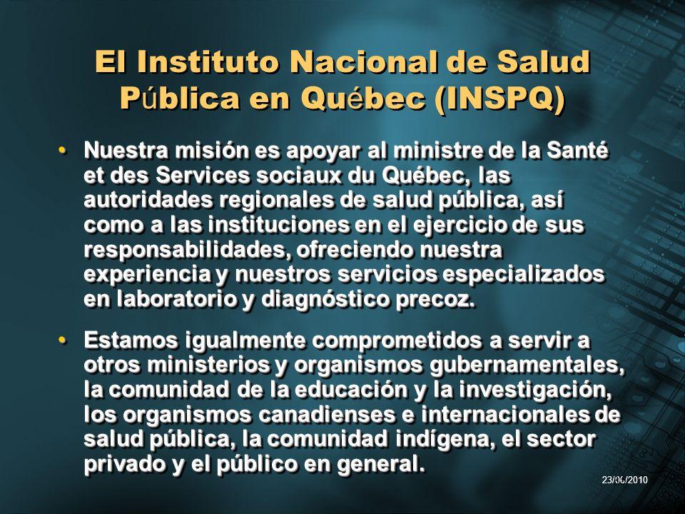 23/06/2010 35 El Instituto Nacional de Salud P ú blica en Qu é bec (INSPQ) Nuestra misión es apoyar al ministre de la Santé et des Services sociaux du