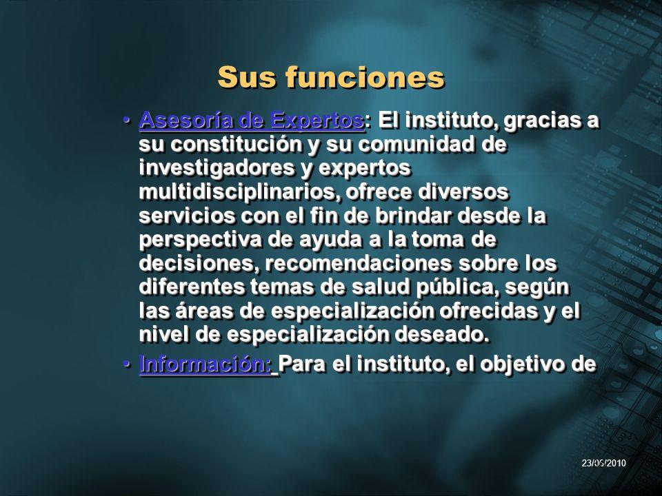 23/06/2010 36 Sus funciones Asesoría de ExpertosEl instituto, gracias a su constitución y su comunidad de investigadores y expertos multidisciplinario
