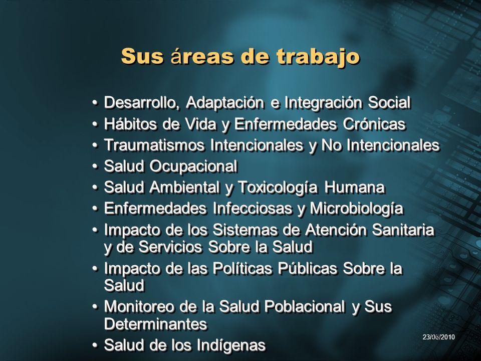 23/06/2010 39 Sus á reas de trabajo Desarrollo, Adaptación e Integración SocialDesarrollo, Adaptación e Integración Social Hábitos de Vida y Enfermeda