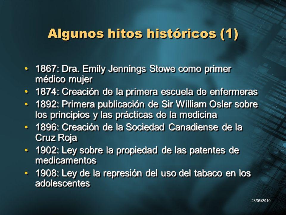 4 Algunos hitos históricos (1) 1867: Dra. Emily Jennings Stowe como primer médico mujer1867: Dra. Emily Jennings Stowe como primer médico mujer 1874: