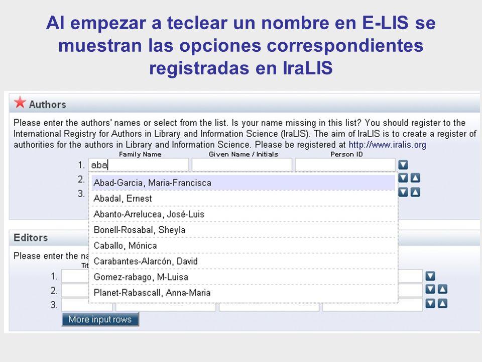 Al empezar a teclear un nombre en E-LIS se muestran las opciones correspondientes registradas en IraLIS
