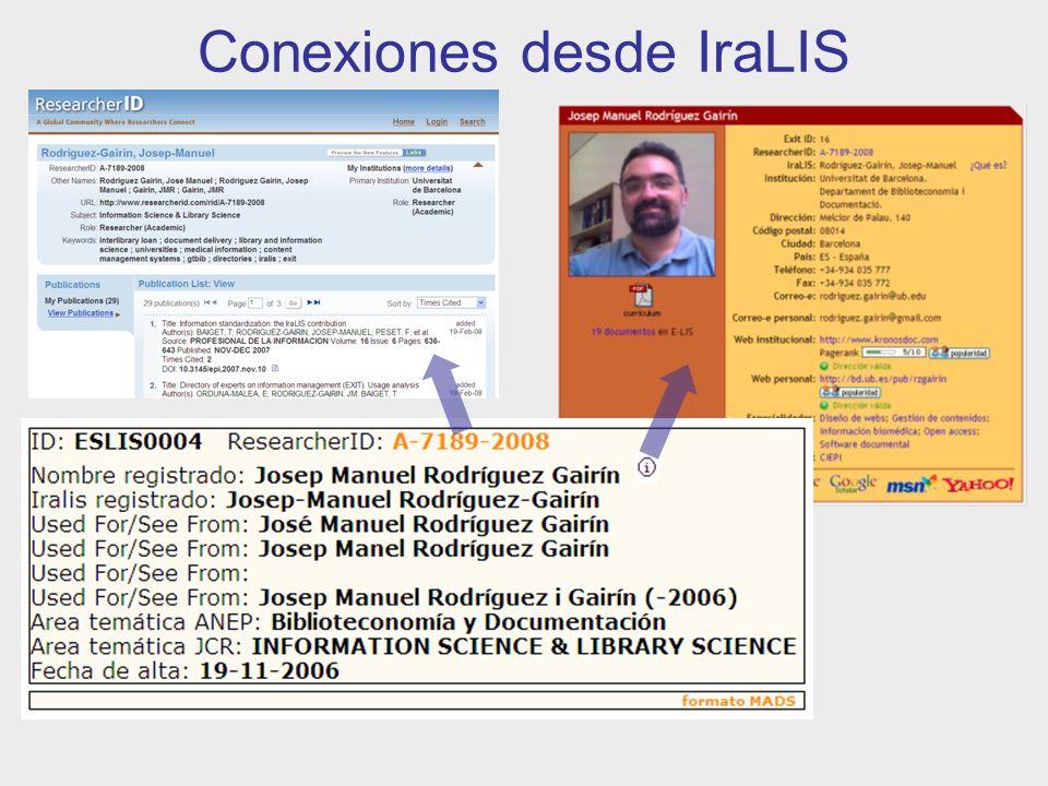 Conexiones desde IraLIS