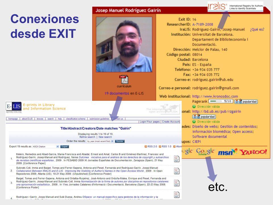 Conexiones desde EXIT etc.