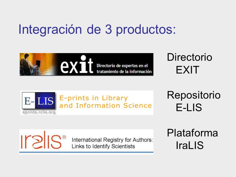 Integración de 3 productos: Directorio EXIT Repositorio E-LIS Plataforma IraLIS