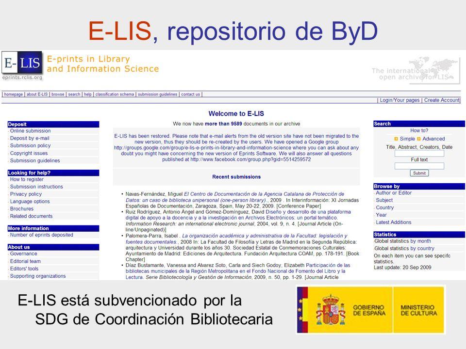 E-LIS, repositorio de ByD E-LIS está subvencionado por la SDG de Coordinación Bibliotecaria