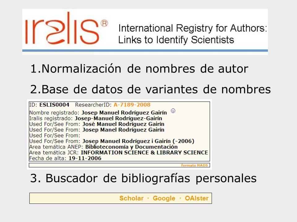3. Buscador de bibliografías personales 1.Normalización de nombres de autor 2.Base de datos de variantes de nombres Scholar · Google · OAIster