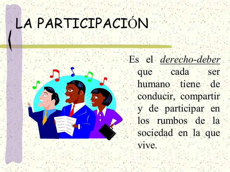 LA PARTICIPACI Ó N Es el derecho-deber que cada ser humano tiene de conducir, compartir y de participar en los rumbos de la sociedad en la que vive.