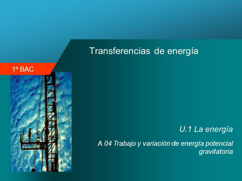 1º BAC Transferencias de energía U.1 La energía A.04 Trabajo y variación de energía potencial gravitatoria
