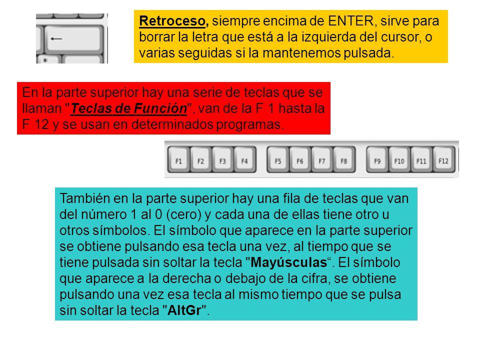 Retroceso, siempre encima de ENTER, sirve para borrar la letra que está a la izquierda del cursor, o varias seguidas si la mantenemos pulsada. En la p
