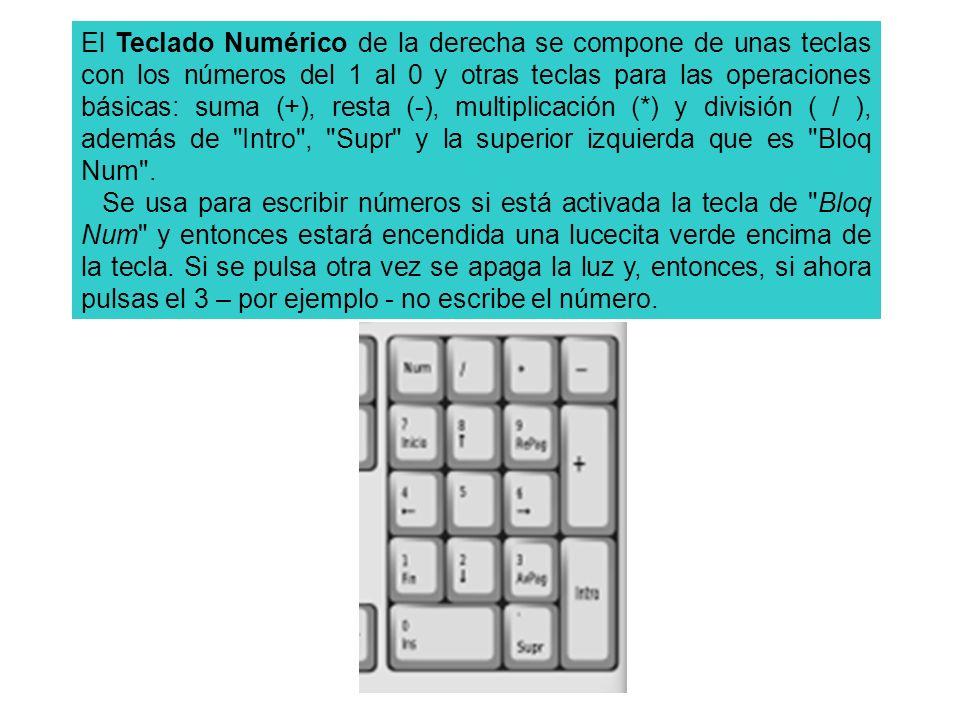 El Teclado Numérico de la derecha se compone de unas teclas con los números del 1 al 0 y otras teclas para las operaciones básicas: suma (+), resta (-