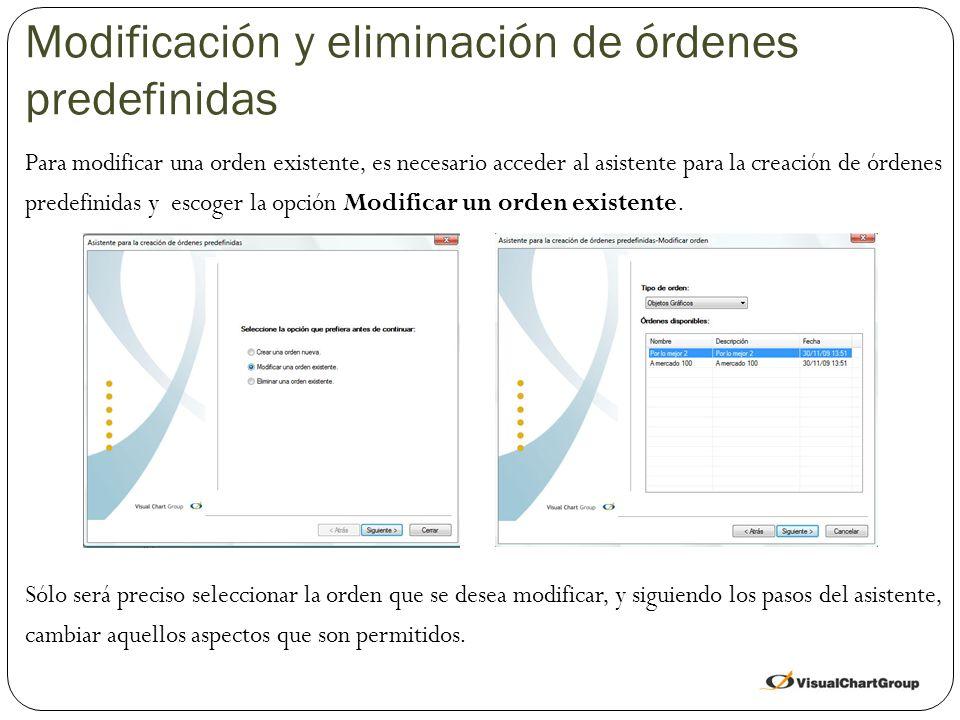 Modificación y eliminación de órdenes predefinidas Para modificar una orden existente, es necesario acceder al asistente para la creación de órdenes predefinidas y escoger la opción Modificar un orden existente.