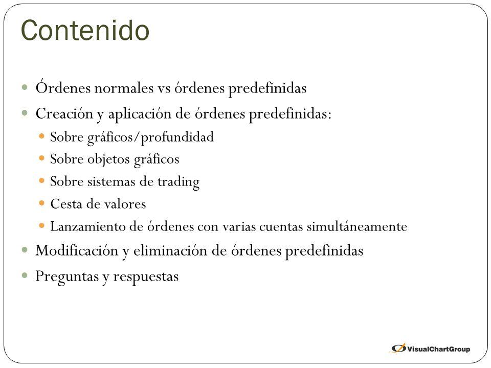 Contenido Órdenes normales vs órdenes predefinidas Creación y aplicación de órdenes predefinidas: Sobre gráficos/profundidad Sobre objetos gráficos Sobre sistemas de trading Cesta de valores Lanzamiento de órdenes con varias cuentas simultáneamente Modificación y eliminación de órdenes predefinidas Preguntas y respuestas