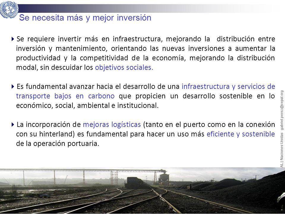 13 Gabriel Pérez Salas | CEPAL | Naciones Unidas gabriel.perez@cepal.org Se necesita más y mejor inversión Se requiere invertir más en infraestructura