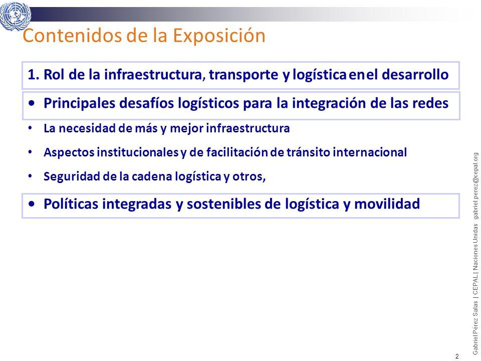 2 Gabriel Pérez Salas | CEPAL | Naciones Unidas gabriel.perez@cepal.org Contenidos de la Exposición 1.Rol de la infraestructura, transporte y logístic