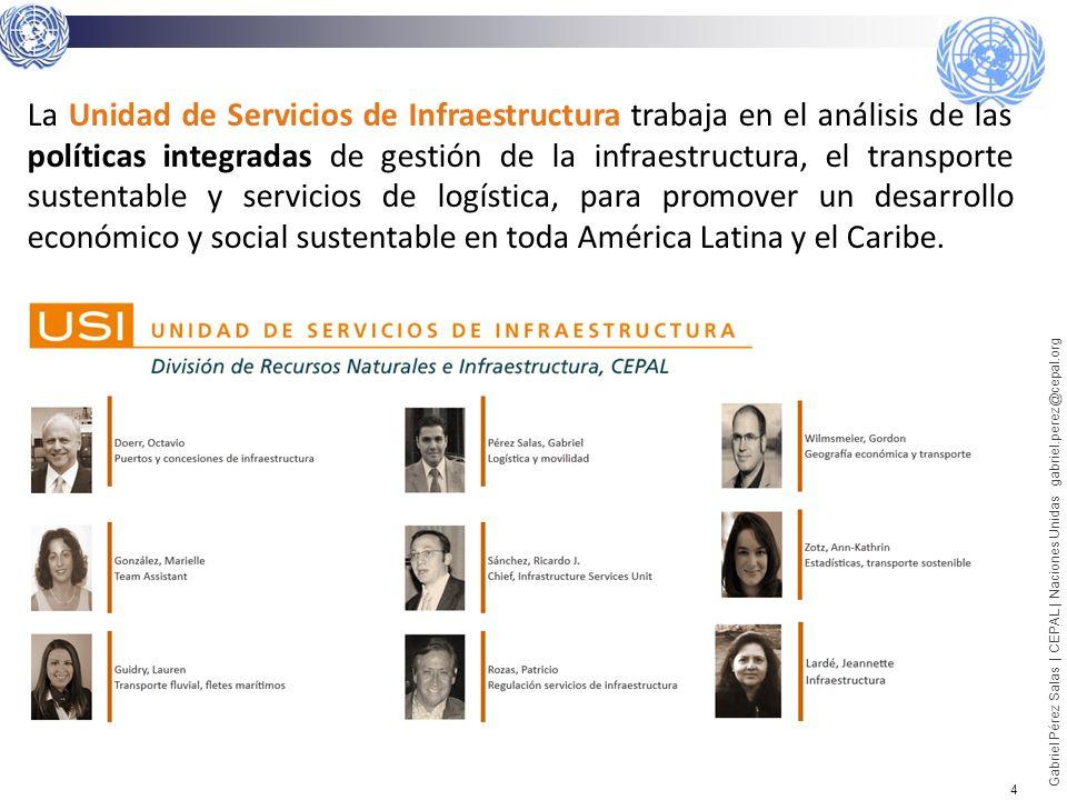 5 Gabriel Pérez Salas | CEPAL | Naciones Unidas gabriel.perez@cepal.org Fuente: Luis Servén 2008 Existe una relación positiva entre provisión de infraestructura y desarrollo económico.