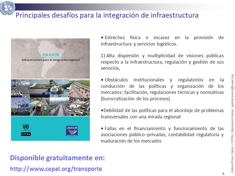 9 Gabriel Pérez Salas | CEPAL | Naciones Unidas gabriel.perez@cepal.org Principales desafíos para la integración de infraestructura Estrechez física o