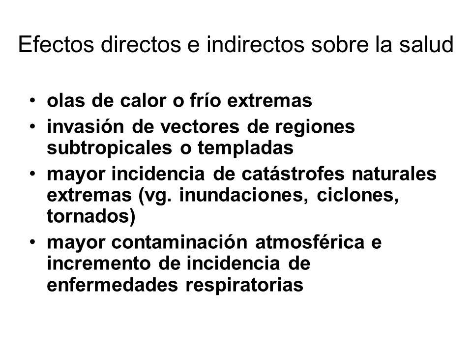 Efectos directos e indirectos sobre la salud olas de calor o frío extremas invasión de vectores de regiones subtropicales o templadas mayor incidencia de catástrofes naturales extremas (vg.