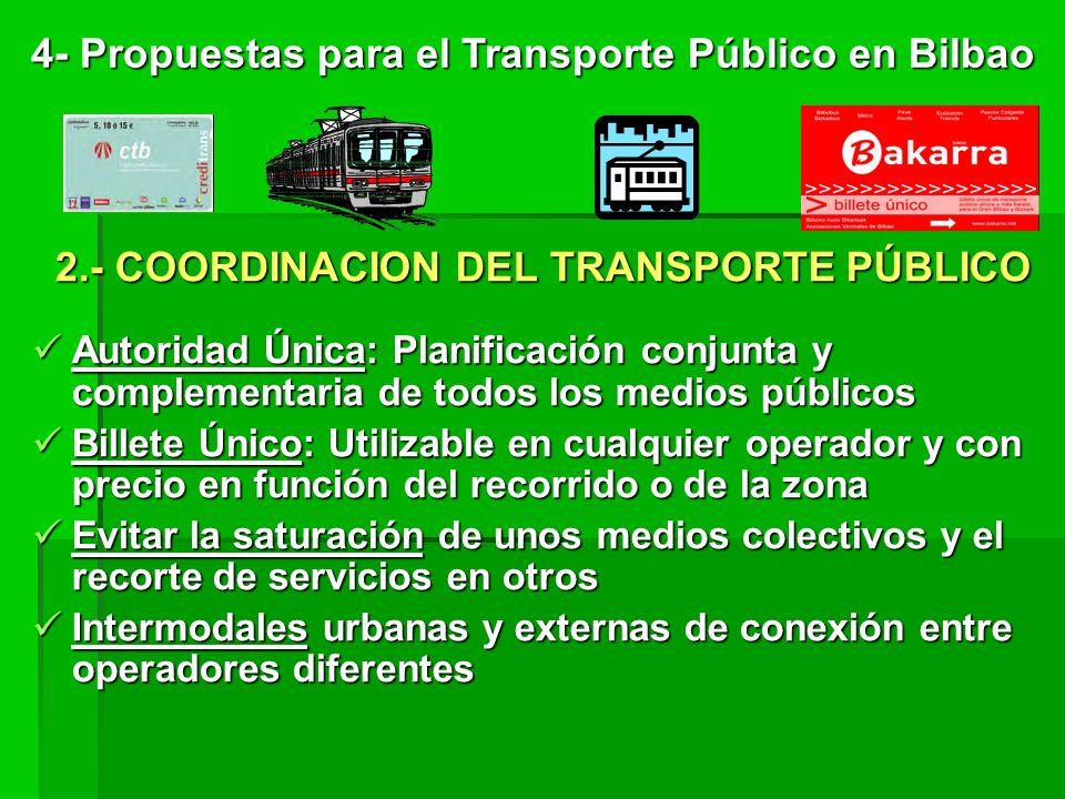 2.- COORDINACION DEL TRANSPORTE PÚBLICO Autoridad Única: Planificación conjunta y complementaria de todos los medios públicos Billete Único: Utilizable en cualquier operador y con precio en función del recorrido o de la zona Evitar la saturación de unos medios colectivos y el recorte de servicios en otros Intermodales urbanas y externas de conexión entre operadores diferentes 4- Propuestas para el Transporte Público en Bilbao