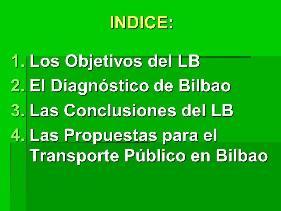 INDICE: 1.Los Objetivos del LB 2.El Diagnóstico de Bilbao 3.Las Conclusiones del LB 4.Las Propuestas para el Transporte Público en Bilbao