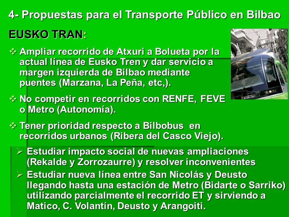 EUSKO TRAN: Ampliar recorrido de Atxuri a Bolueta por la actual línea de Eusko Tren y dar servicio a margen izquierda de Bilbao mediante puentes (Marzana, La Peña, etc,).