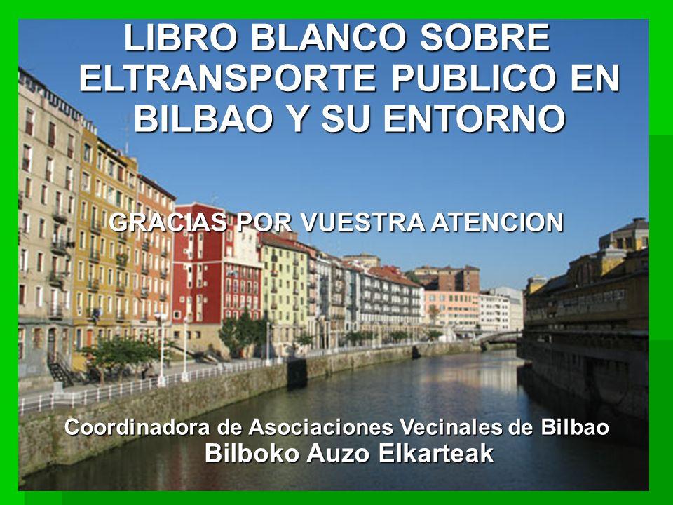 LIBRO BLANCO SOBRE ELTRANSPORTE PUBLICO EN BILBAO Y SU ENTORNO GRACIAS POR VUESTRA ATENCION Coordinadora de Asociaciones Vecinales de Bilbao Bilboko Auzo Elkarteak