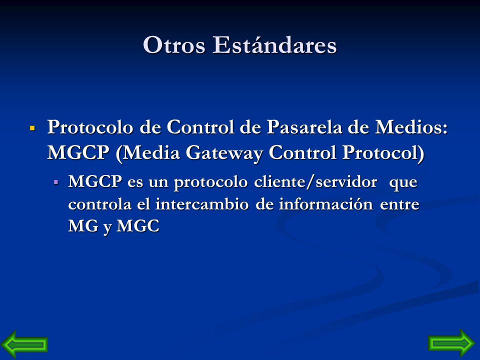 Otros Estándares Hay otros estándares como: Protocolo de Inicio de Sesiones: SIP (Session Initiation Protocol) Protocolo de Inicio de Sesiones: SIP (S