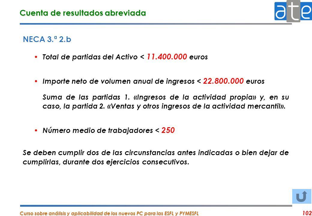 Curso sobre análisis y aplicabilidad de los nuevos PC para las ESFL y PYMESFL 102 NECA 3.ª 2.b Total de partidas del Activo < 11.400.000 euros Importe