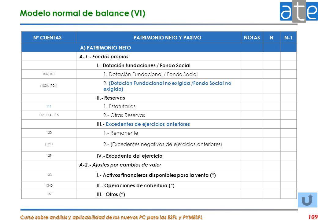 Curso sobre análisis y aplicabilidad de los nuevos PC para las ESFL y PYMESFL 109 Nº CUENTASPATRIMONIO NETO Y PASIVONOTASNN-1 A) PATRIMONIO NETO 00 A-