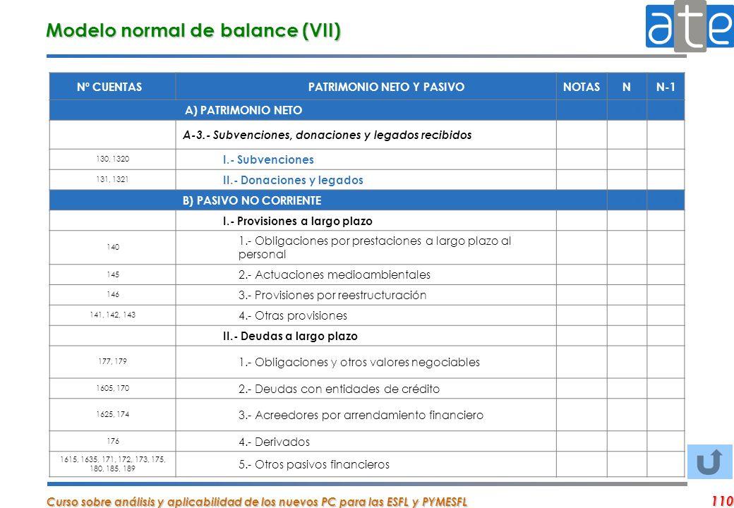 Curso sobre análisis y aplicabilidad de los nuevos PC para las ESFL y PYMESFL 110 Nº CUENTASPATRIMONIO NETO Y PASIVONOTASNN-1 A) PATRIMONIO NETO 00 A-