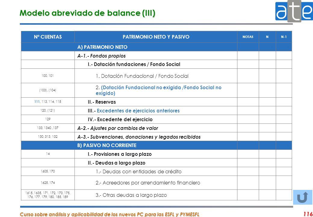 Curso sobre análisis y aplicabilidad de los nuevos PC para las ESFL y PYMESFL 116 Nº CUENTASPATRIMONIO NETO Y PASIVO NOTASNN-1 A) PATRIMONIO NETO 00 A
