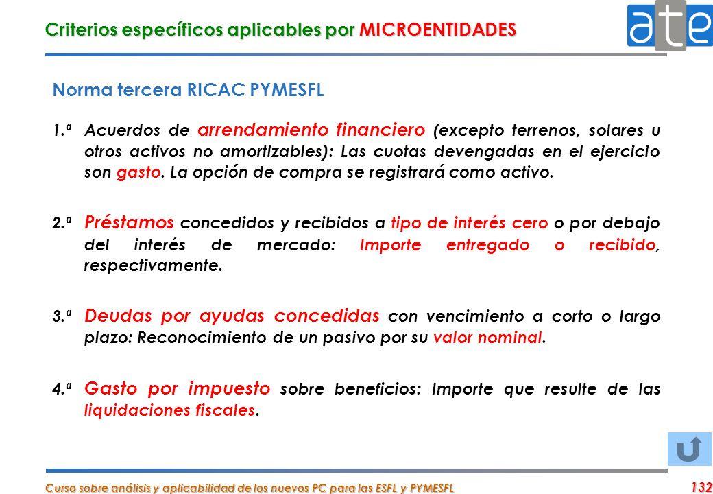 Curso sobre análisis y aplicabilidad de los nuevos PC para las ESFL y PYMESFL 132 Criterios específicos aplicables por MICROENTIDADES Norma tercera RI