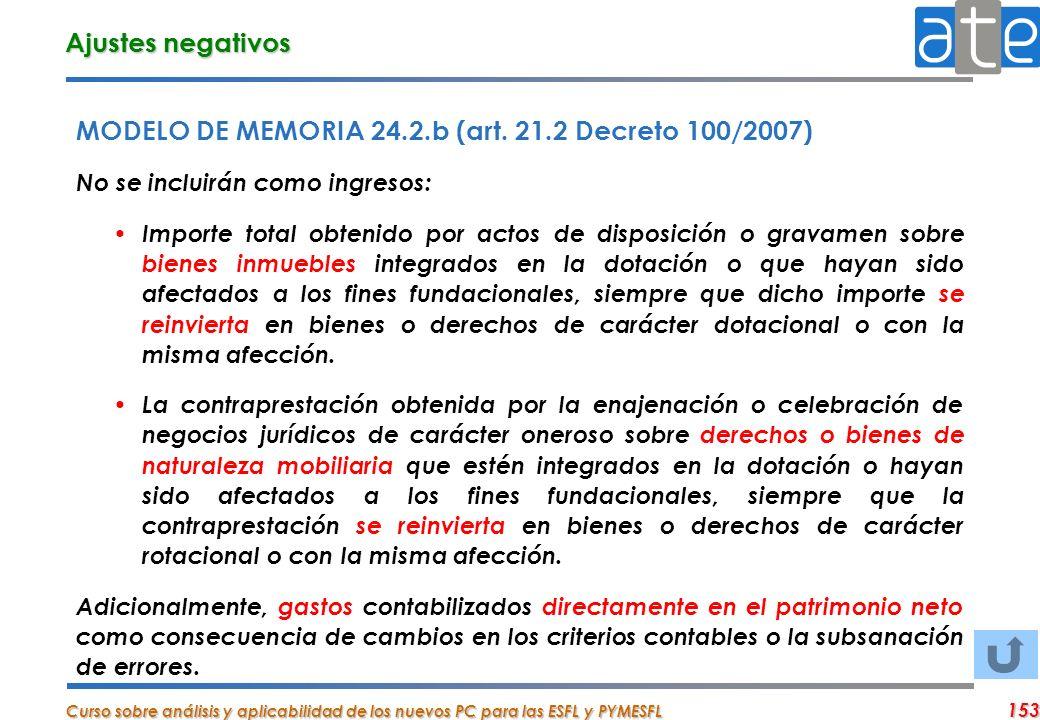 Curso sobre análisis y aplicabilidad de los nuevos PC para las ESFL y PYMESFL 153 MODELO DE MEMORIA 24.2.b (art. 21.2 Decreto 100/2007) No se incluirá