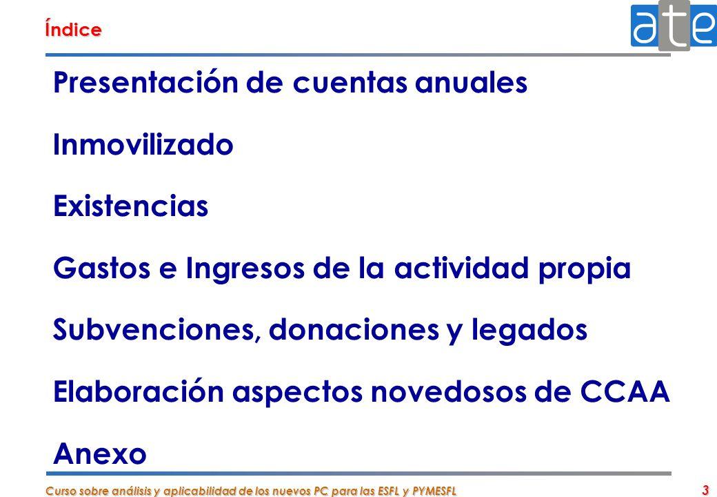 Curso sobre análisis y aplicabilidad de los nuevos PC para las ESFL y PYMESFL 3 Presentación de cuentas anuales Inmovilizado Existencias Gastos e Ingr