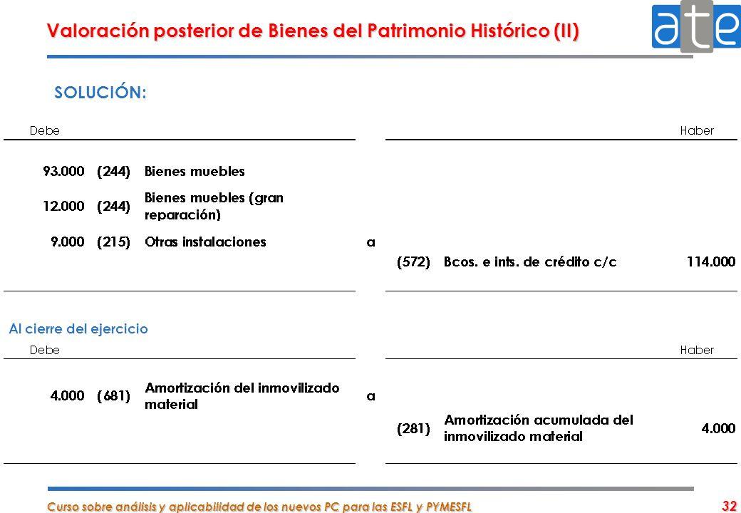 Curso sobre análisis y aplicabilidad de los nuevos PC para las ESFL y PYMESFL 32 Valoración posterior de Bienes del Patrimonio Histórico (II) SOLUCIÓN