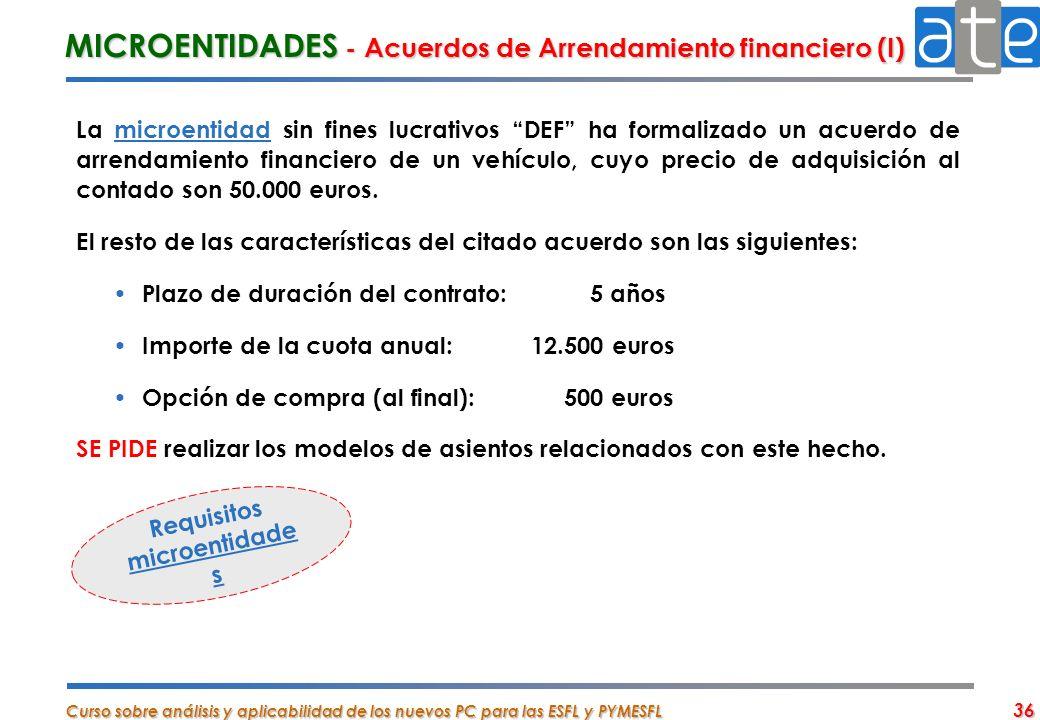 Curso sobre análisis y aplicabilidad de los nuevos PC para las ESFL y PYMESFL 36 MICROENTIDADES - Acuerdos de Arrendamiento financiero (I) La microent