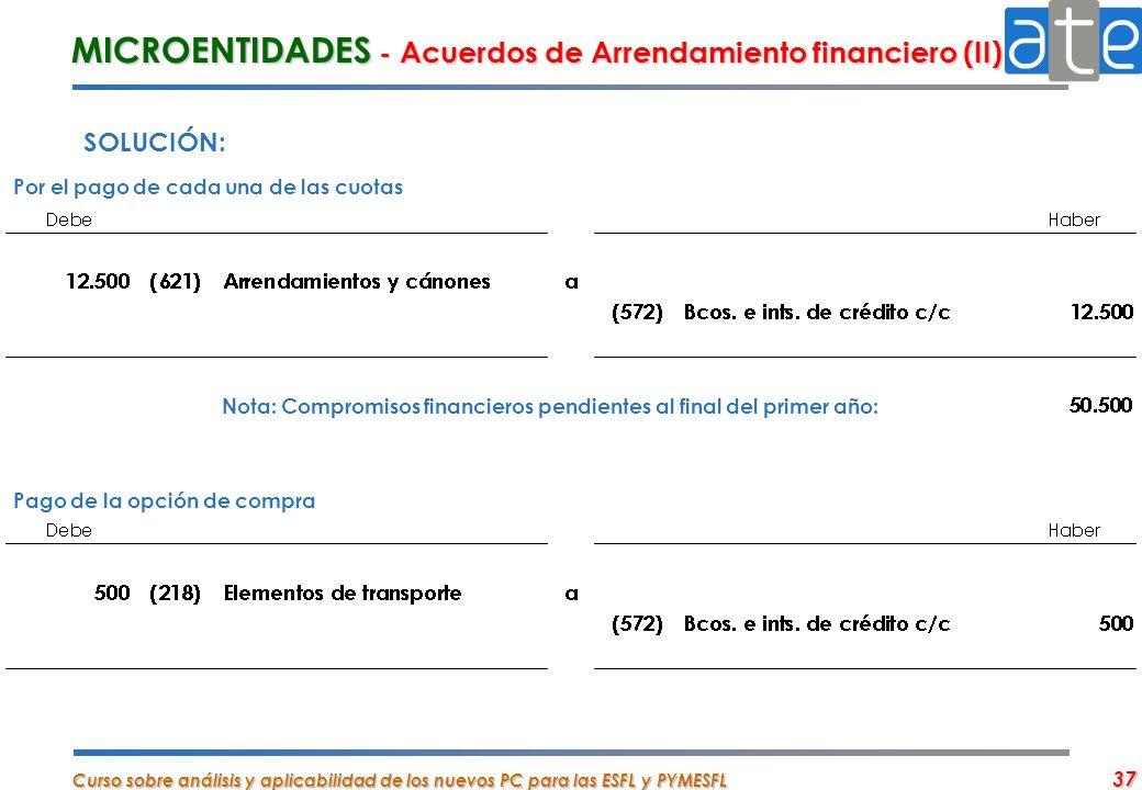 Curso sobre análisis y aplicabilidad de los nuevos PC para las ESFL y PYMESFL 37 SOLUCIÓN: MICROENTIDADES - Acuerdos de Arrendamiento financiero (II)