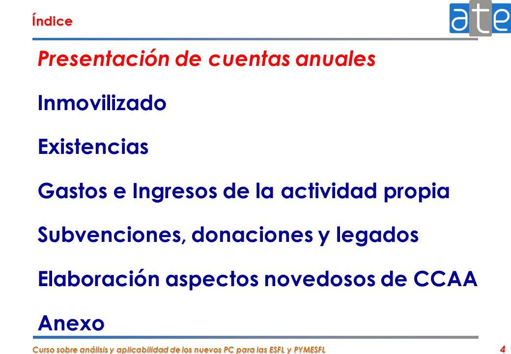 Curso sobre análisis y aplicabilidad de los nuevos PC para las ESFL y PYMESFL 4 Índice Presentación de cuentas anuales Inmovilizado Existencias Gastos
