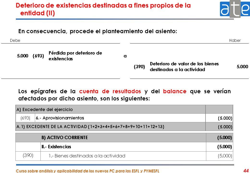 Curso sobre análisis y aplicabilidad de los nuevos PC para las ESFL y PYMESFL 44 Deterioro de existencias destinadas a fines propios de la entidad (II