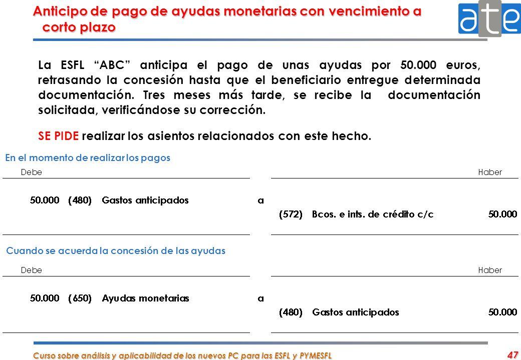 Curso sobre análisis y aplicabilidad de los nuevos PC para las ESFL y PYMESFL 47 La ESFL ABC anticipa el pago de unas ayudas por 50.000 euros, retrasa