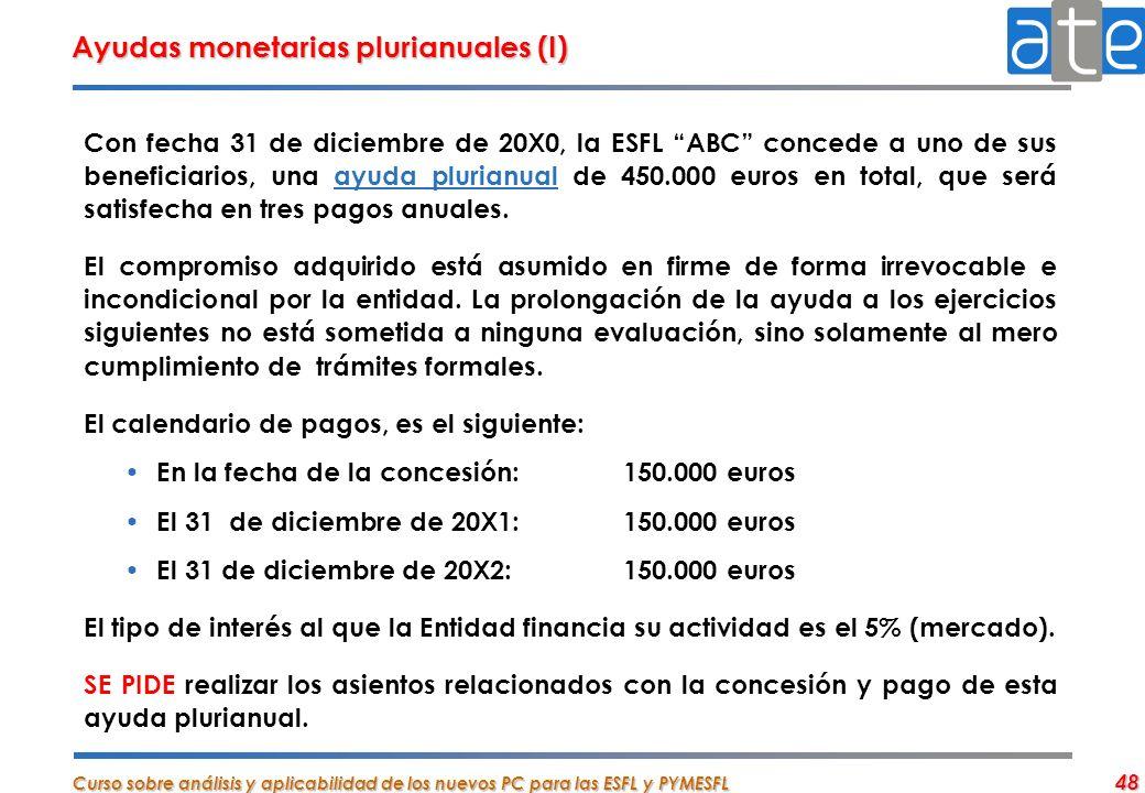 Curso sobre análisis y aplicabilidad de los nuevos PC para las ESFL y PYMESFL 48 Ayudas monetarias plurianuales (I) Con fecha 31 de diciembre de 20X0,
