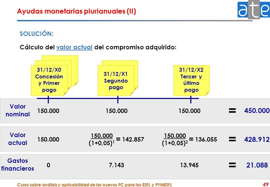 Curso sobre análisis y aplicabilidad de los nuevos PC para las ESFL y PYMESFL 49 Ayudas monetarias plurianuales (II) SOLUCIÓN: Cálculo del valor actua
