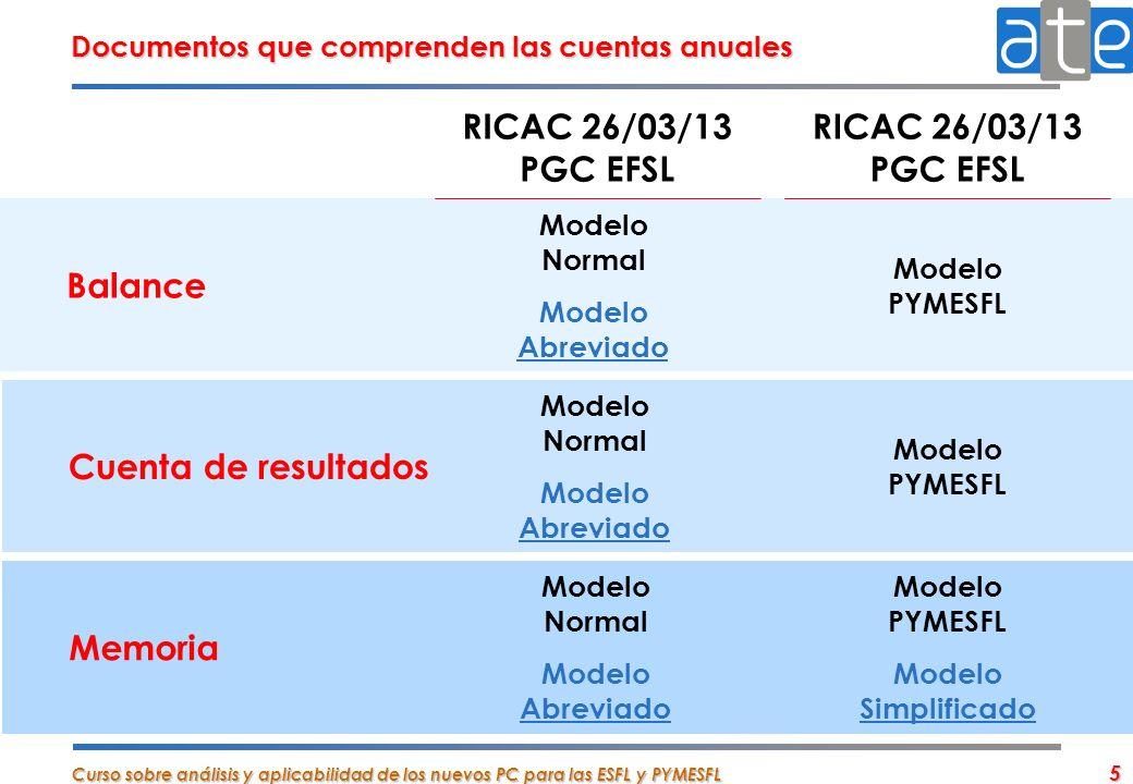 Curso sobre análisis y aplicabilidad de los nuevos PC para las ESFL y PYMESFL 5 Balance Modelo Normal Modelo Abreviado Modelo PYMESFL Documentos que c