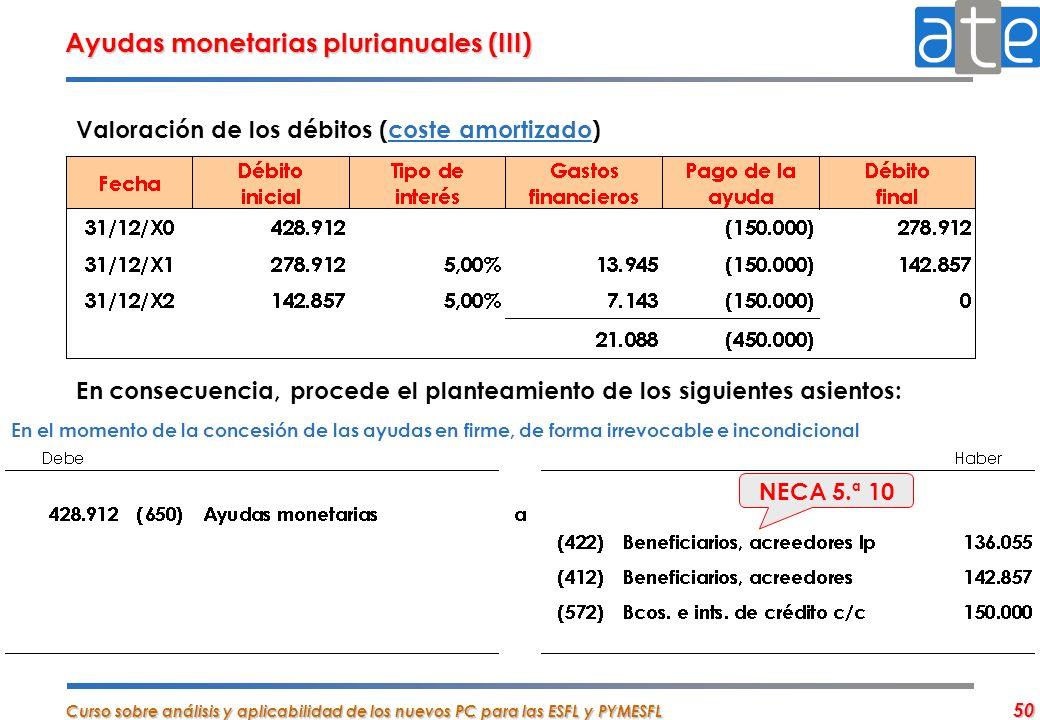 Curso sobre análisis y aplicabilidad de los nuevos PC para las ESFL y PYMESFL 50 Valoración de los débitos (coste amortizado) En consecuencia, procede