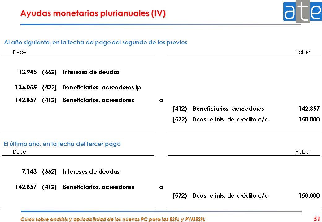 Curso sobre análisis y aplicabilidad de los nuevos PC para las ESFL y PYMESFL 51 Ayudas monetarias plurianuales (IV) Al año siguiente, en la fecha de