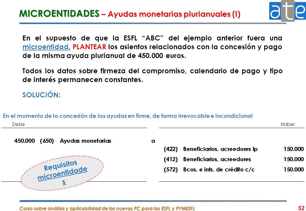 Curso sobre análisis y aplicabilidad de los nuevos PC para las ESFL y PYMESFL 52 MICROENTIDADES – Ayudas monetarias plurianuales (I) En el supuesto de