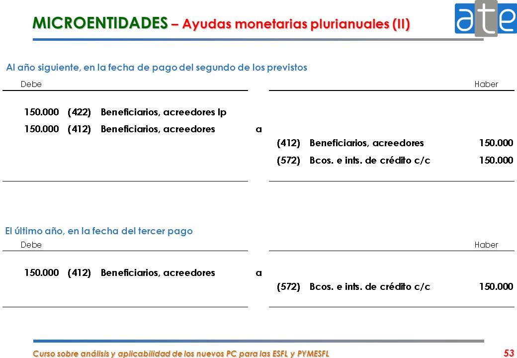 Curso sobre análisis y aplicabilidad de los nuevos PC para las ESFL y PYMESFL 53 MICROENTIDADES – Ayudas monetarias plurianuales (II) Al año siguiente
