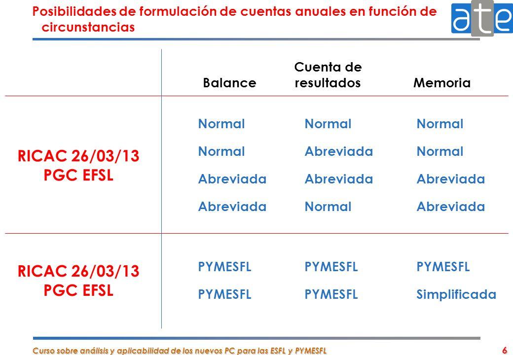 Curso sobre análisis y aplicabilidad de los nuevos PC para las ESFL y PYMESFL 6 NormalNormalNormal NormalAbreviadaNormal AbreviadaAbreviadaAbreviada A