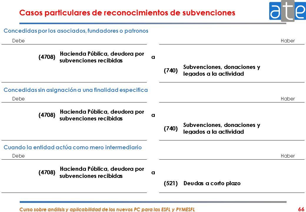 Curso sobre análisis y aplicabilidad de los nuevos PC para las ESFL y PYMESFL 66 Casos particulares de reconocimientos de subvenciones Concedidas por